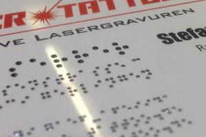 Visitenkarte für Blinde